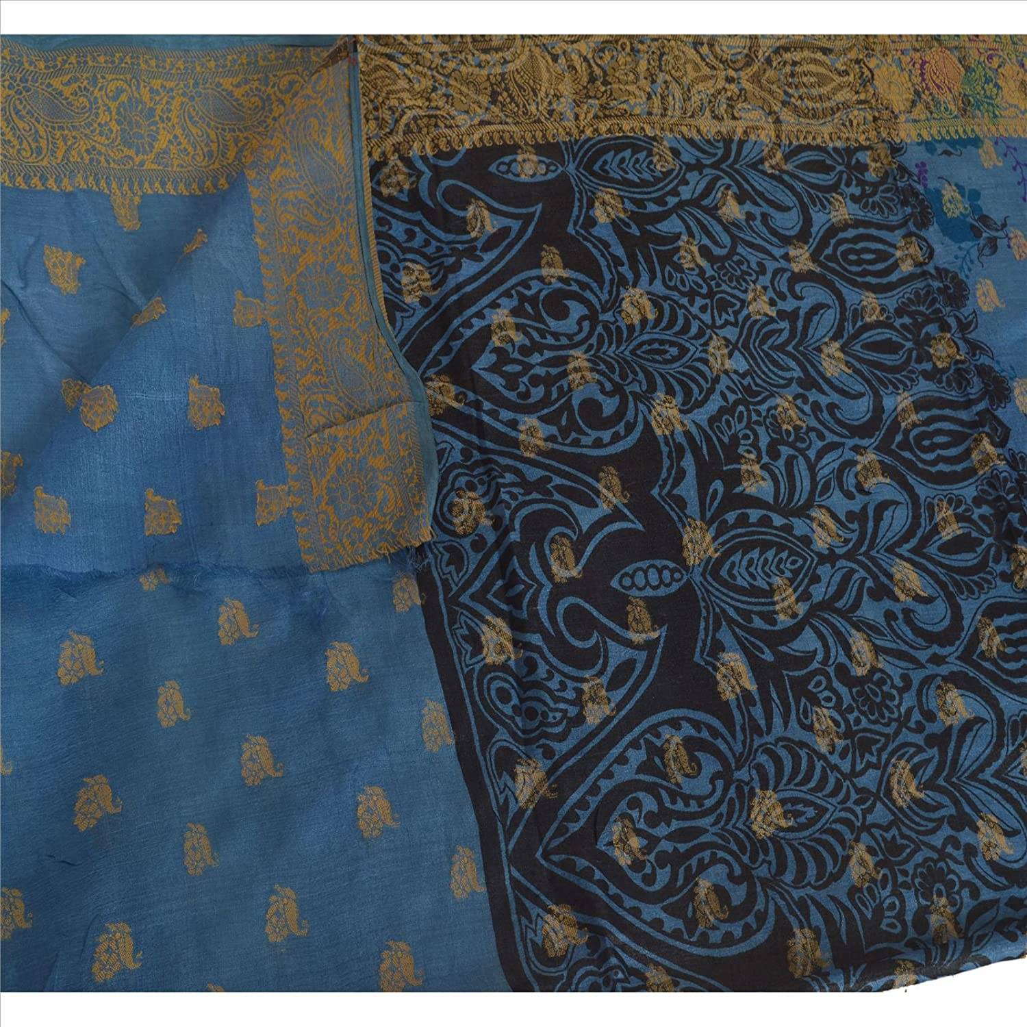 100% Pure Tassar Silk New Long Stole Dupatta Scarves Printed With Weaving Border