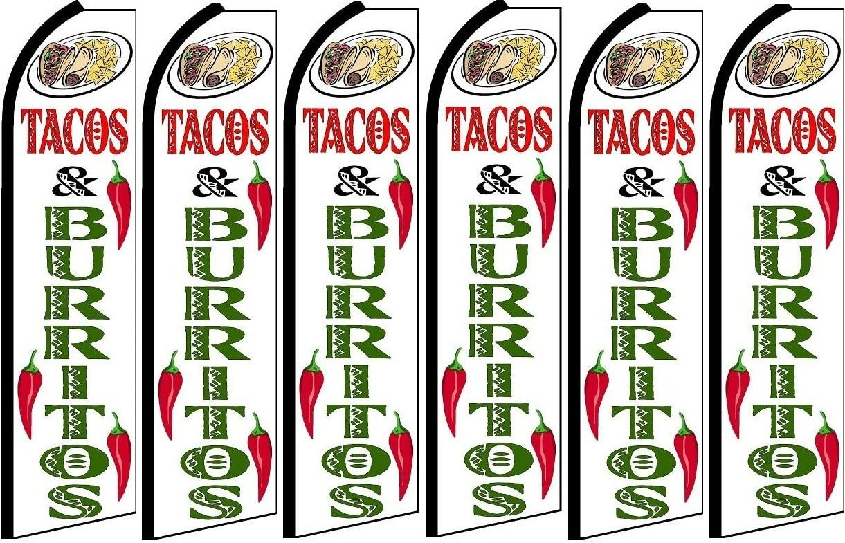 Tacos and Burritos King Swooper Flag Hardware not Included Pack of 6