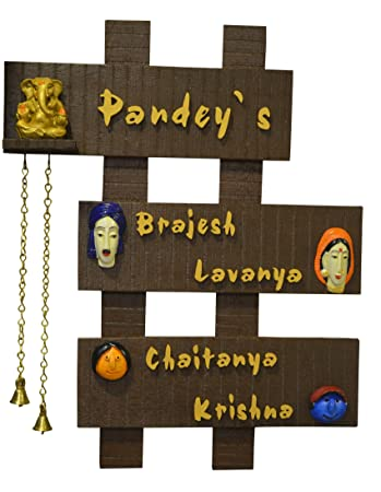 Buy Karigaari Wooden Family Name Plate Online at Low Prices in ...