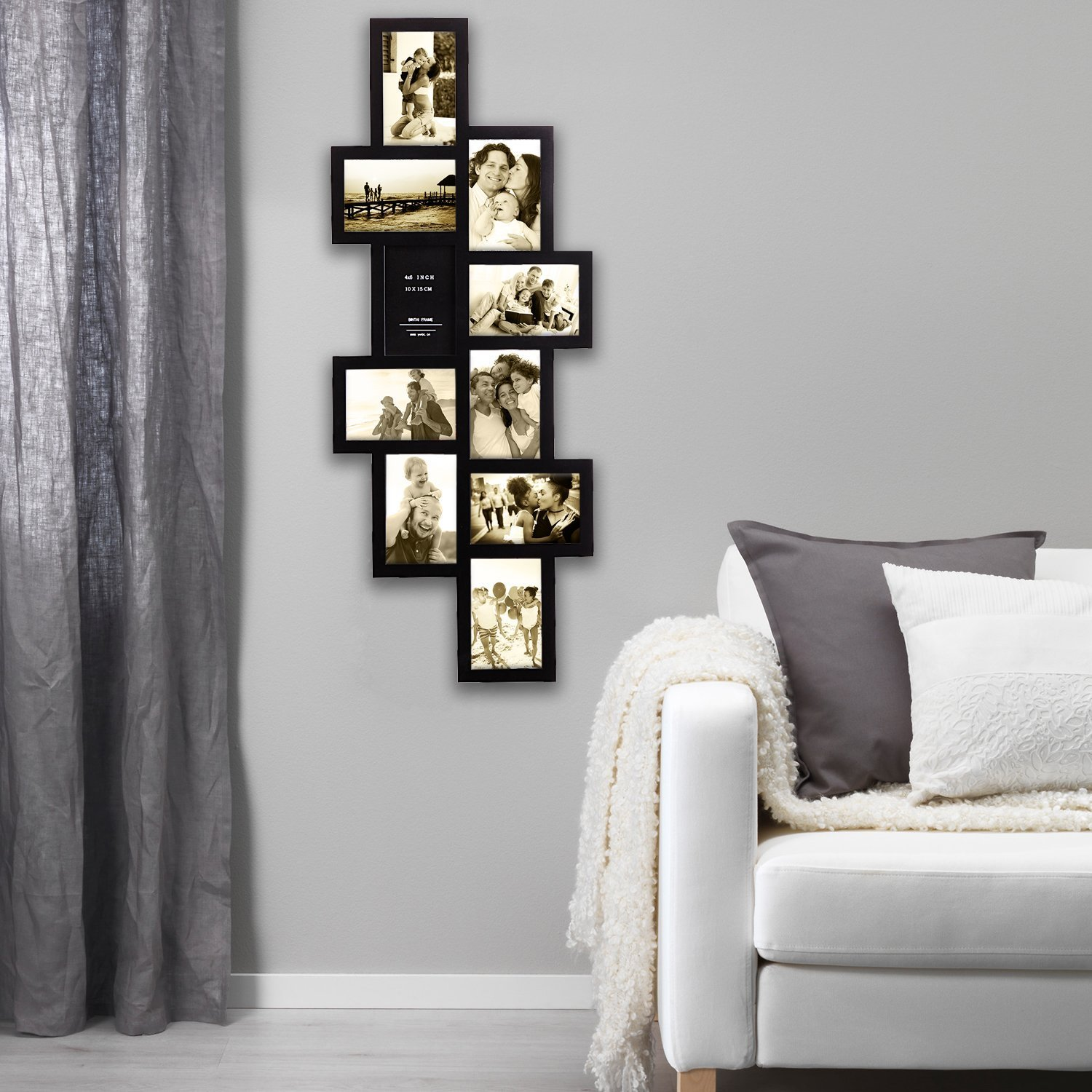 Hello Laura - 33 by 13.5'' inch Wall Hanging Photo Frame, 4 x 6'' inch Photo Sockets x 10, 10 opening Black Frame Edge | Gallery Style by Hello Laura (Image #3)