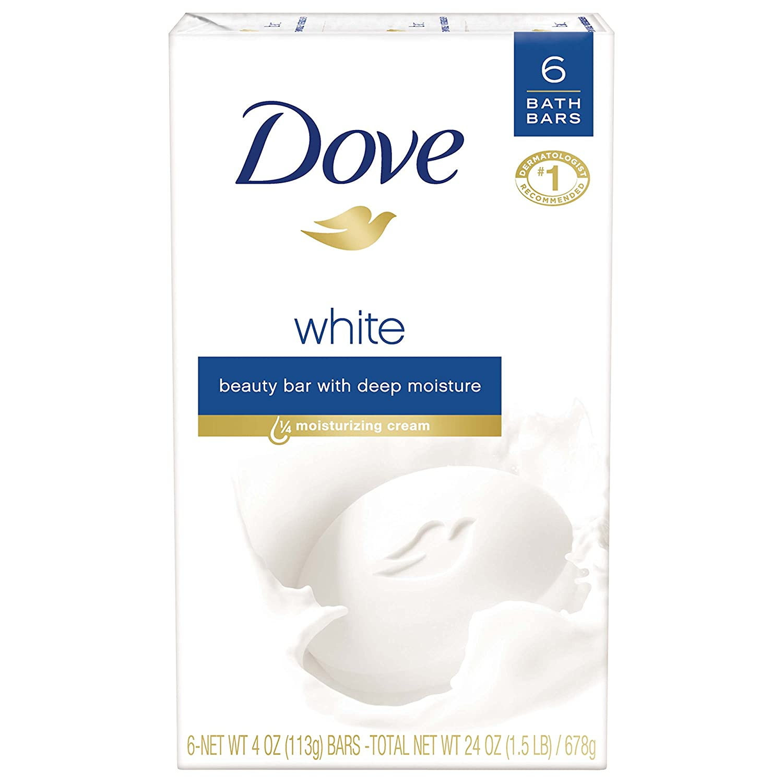 Dove Beauty Bar, White, 4 oz, 6 Bar