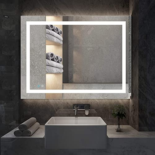 illucid LED Bathroom Mirror Wall Mounted 32×24 inch Dimmer Defogger Crystal Clear Shatterproof Vertical Horizone Flicking-Free LED Vanity Mirror