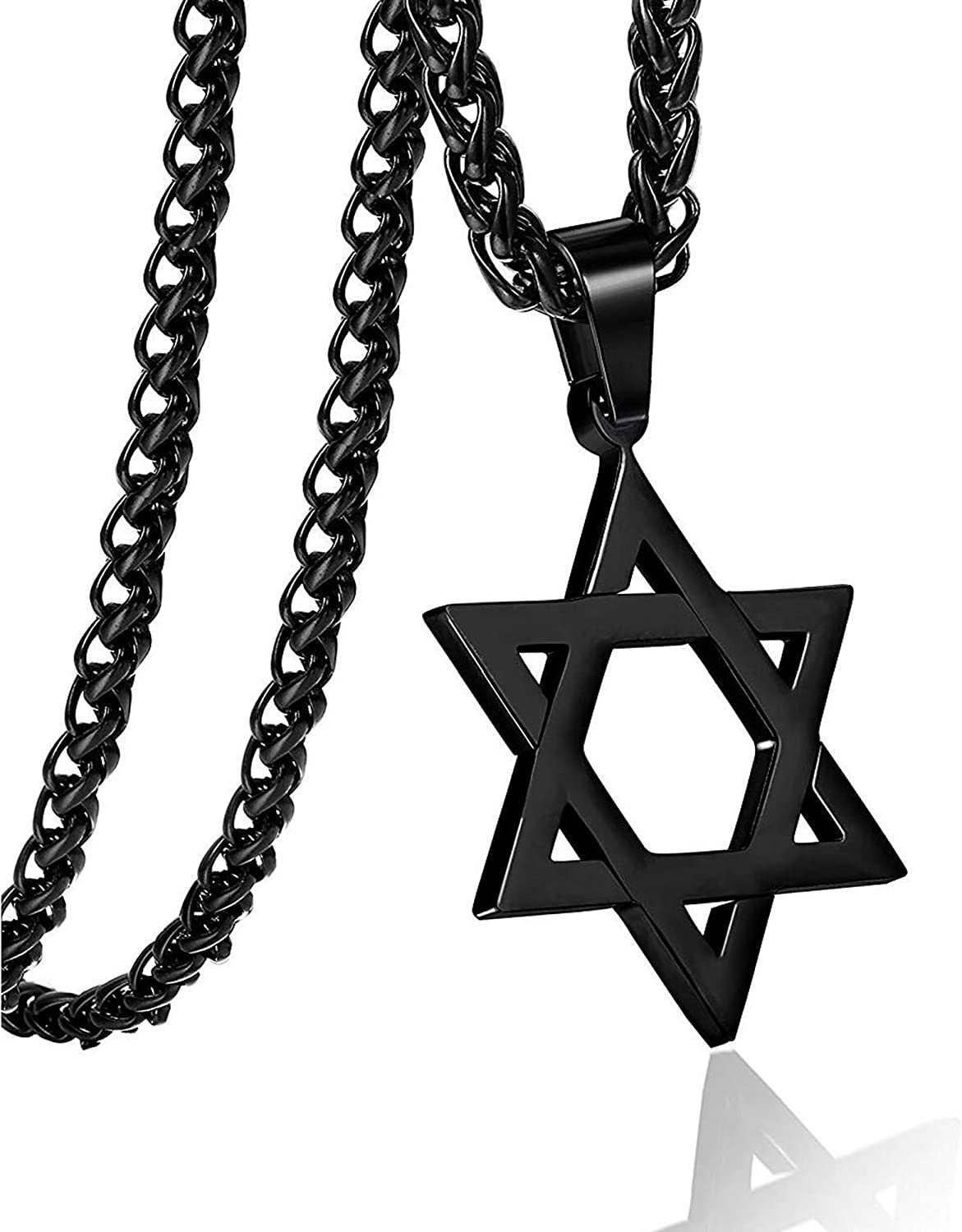 Star of David Six Point Star Necklace Hiphop Stainless Steel Pendant Jewelry