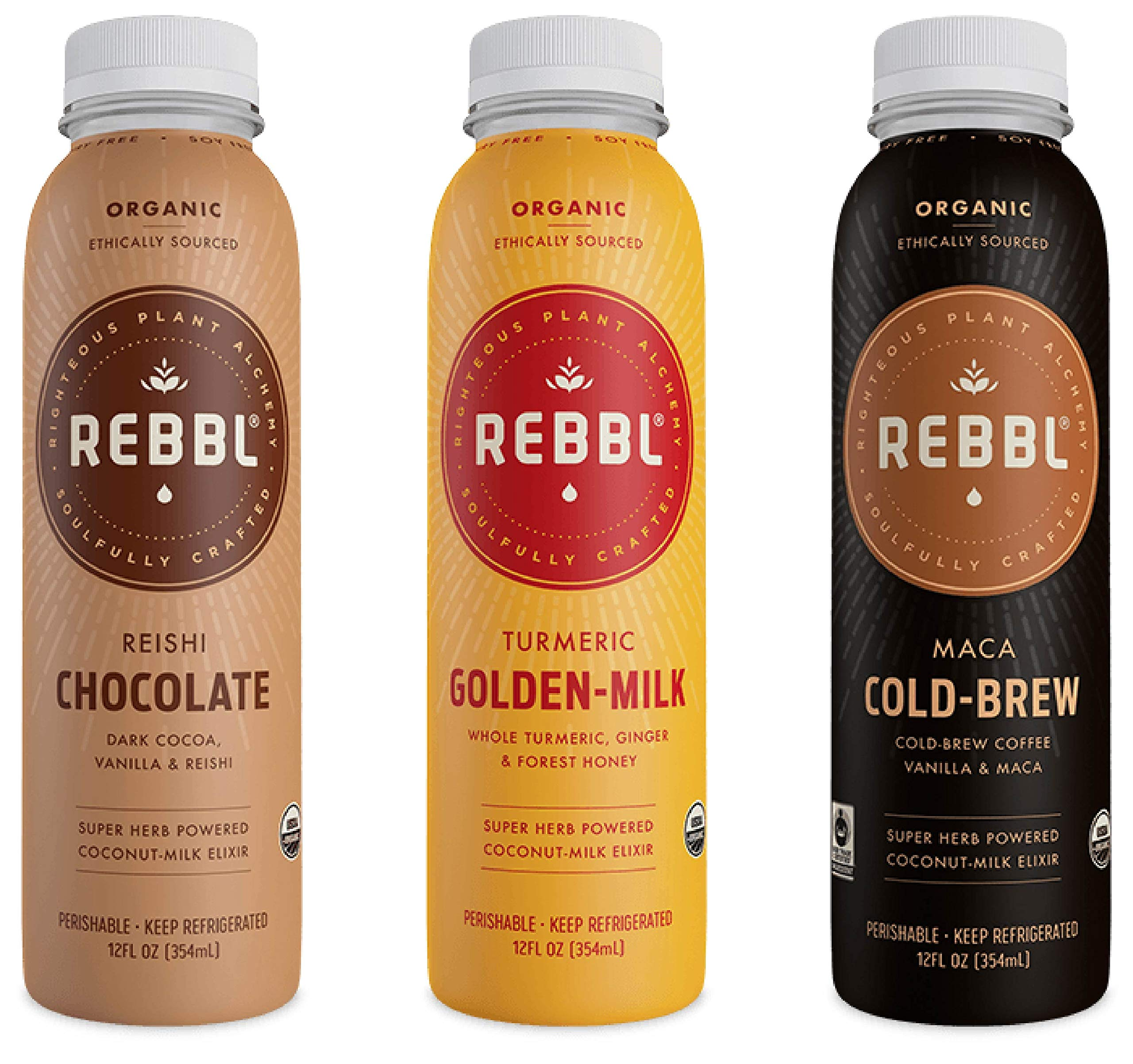 Rebbl Super Herb Powered Coconut-Milk Elixir Variety Pack, 2 of each Flavor (6 Pack)