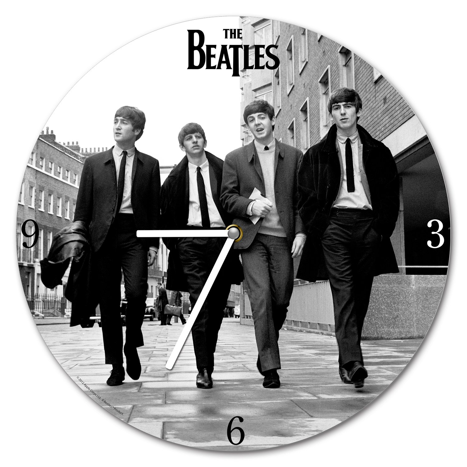 The Beatles 13.5 inch Cordless Wood Wall Clock, Black and White