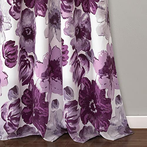 Lush Decor Room Darkening Window Curtain Panel Pair Leah Floral Insulated Grommet, 84 L, Purple and Gray