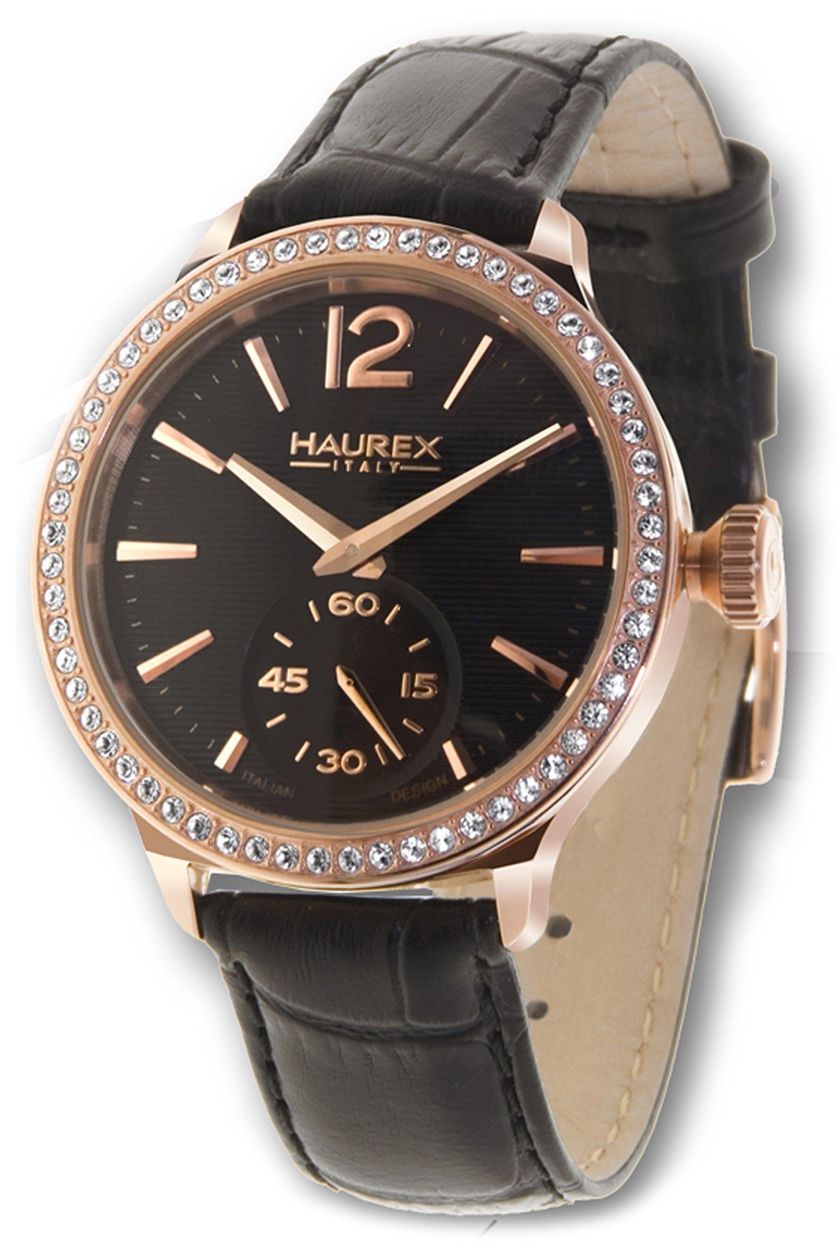 Haurex Italy Women's FH341DNH Grand Class Rose-Gold PVD Case Crystal Bezel Watch