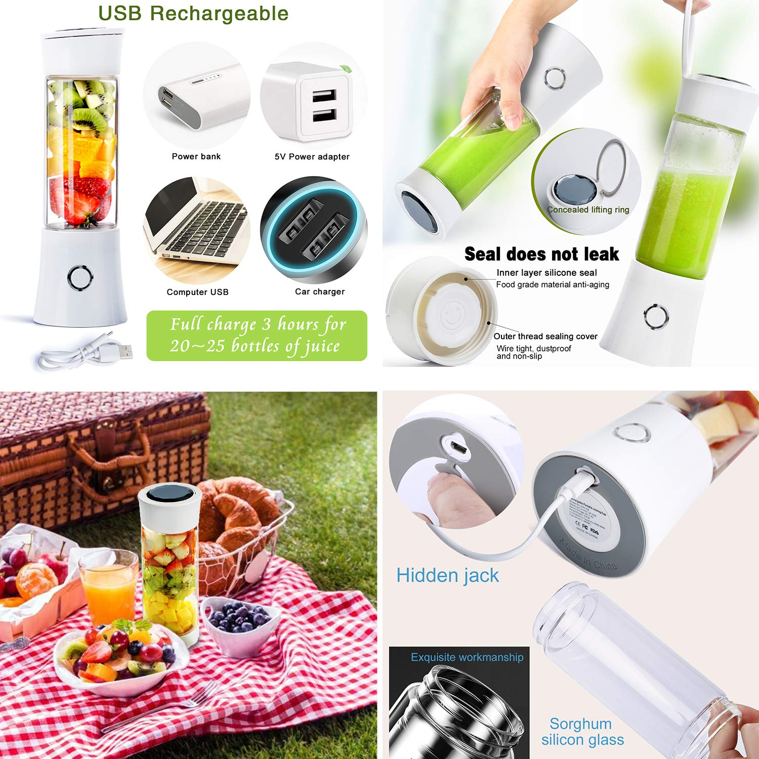 Portable Blender Fityou 6-Blade Personal Glass Smoothie Fruit Mixer Juicer Cup,USB Rechargeable Multifunctional Travel Blender for Shakes and Smoothies,with 4000mAh Rechargeable Battery,FDA BPA Free