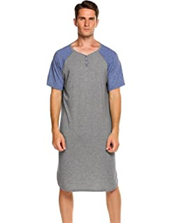 Ekouaer Men s Nightshirts Short Sleeve Nightwear Henley Sleepshirt Kaftan  Pajama with Pocket d191c4421