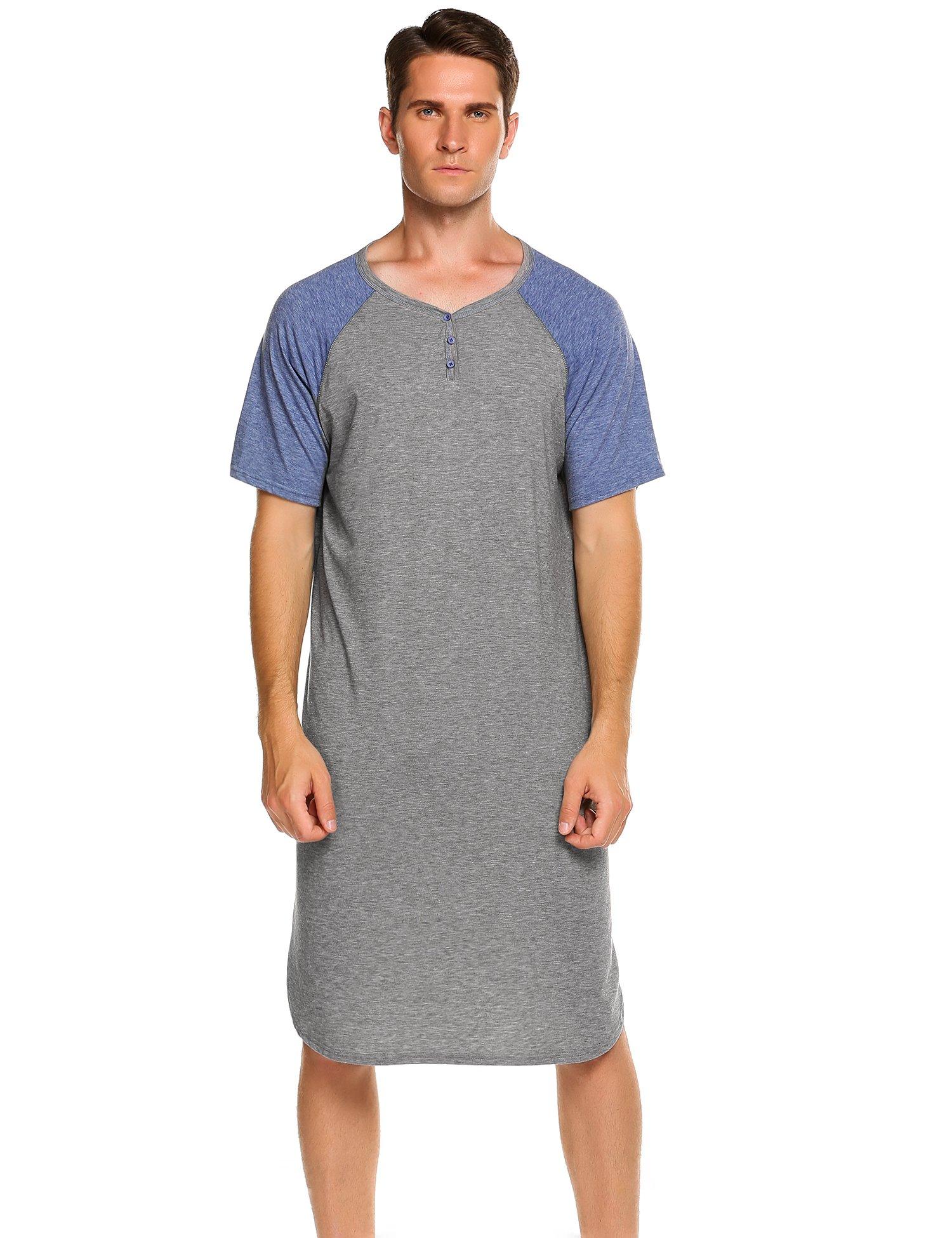 Ekouaer Men's Nightshirts Short Sleeve Nightwear Henley Sleepshirt Kaftan Pajama with Pocket (C-Grey, Medium)