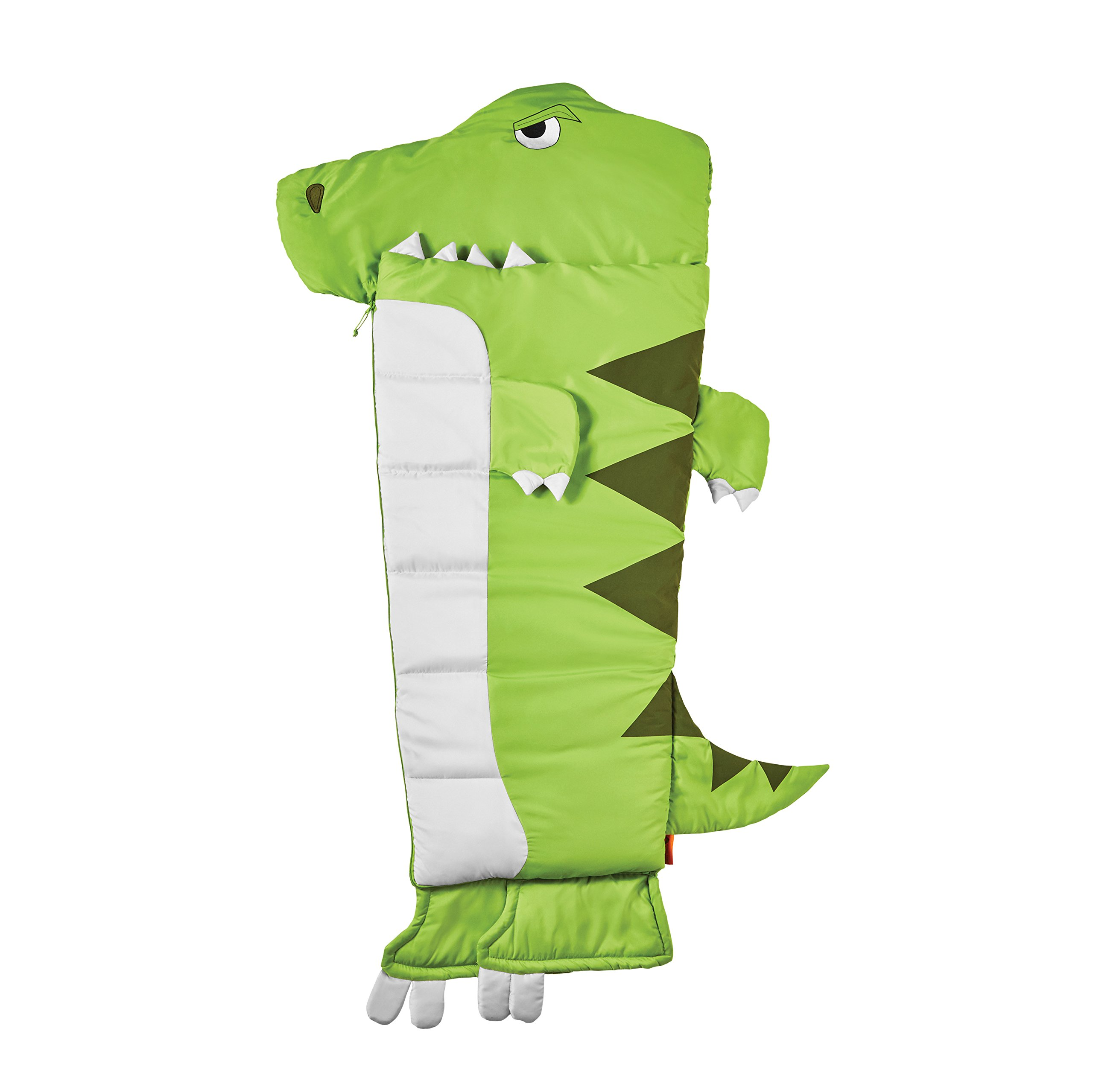 L&M kids Boys Green Dinosaur Shaped Sleeping Bag, T-Rex Rexasaurus Jurassic Reptile Animal character Motif, Tyrannosaurus Rex Leafy Green White Light Travel Bed Roll