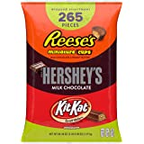 Hershey's, Kit Kat, & Reese's Christmas Candy Bulk Chocolate Variety Pack, 5 Pounds, Fun Size, 265 Pieces