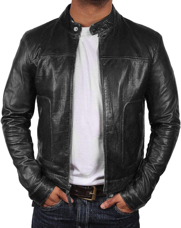 Men/'s Black Biker Slim Fit Cafe Racer Motorcycle Real Sheepskin Leather Jacket
