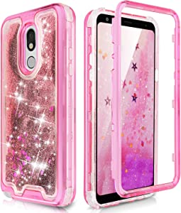 TJS Phone Case Compatible with LG Stylo 5/LG Stylo 5 Plus/LG Stylo 5V/LG Stylo 5X, Transparent Liquid Glitter Snap On Hybrid Moving Quicksand Bumper Drop Protector Cover (Pink)