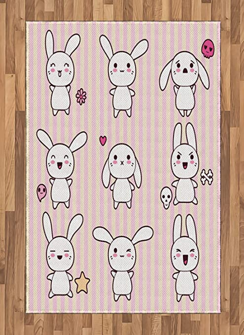 Amazon com: Lunarable Rabbit Area Rug, Bunny Rabbit with