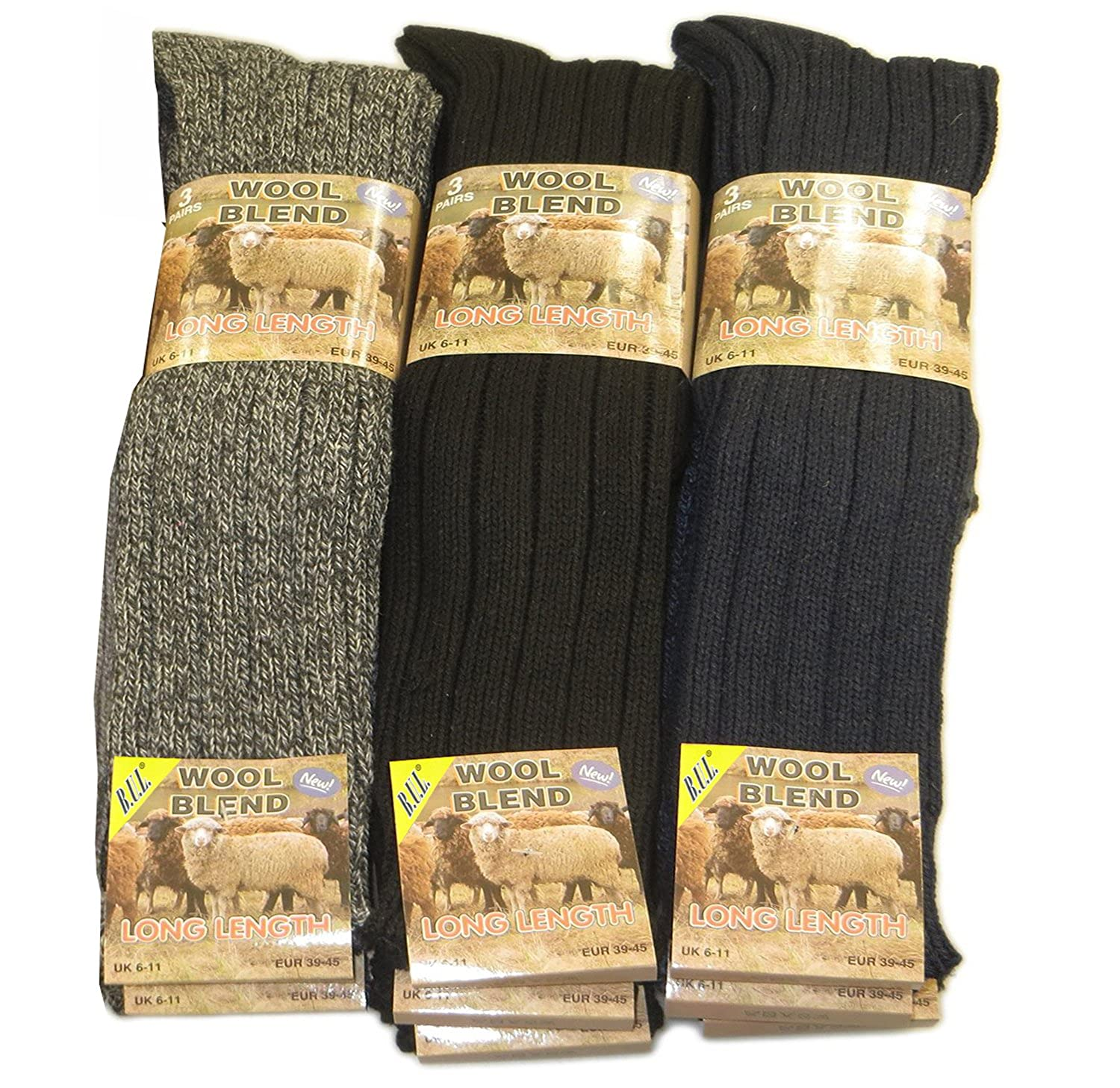 6 Pairs Men's Thermal Premium Quality Long Wool Socks Size UK 6-11 EU 39-45