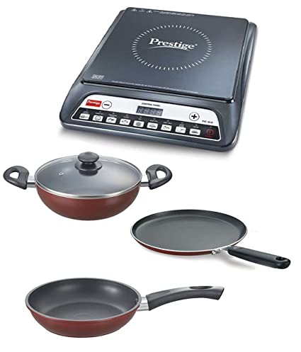 Prestige Stainless Steel Combo of Induction PIC 20.0 and Omega Deluxe BYK (Black,Standard)