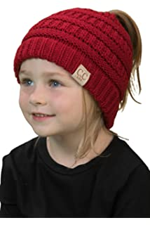 Funky Junque BeanieTail Children s Ponytail Messy Bun Beanie Solid Ribbed  Hat 751974bd5206