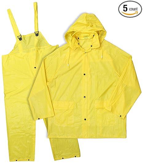 564801c7ffe Image Unavailable. Image not available for. Color  Boss Rainwear 3PR0300YJ XXL  Yellow Lined PVC Rainsuit 3 Piece