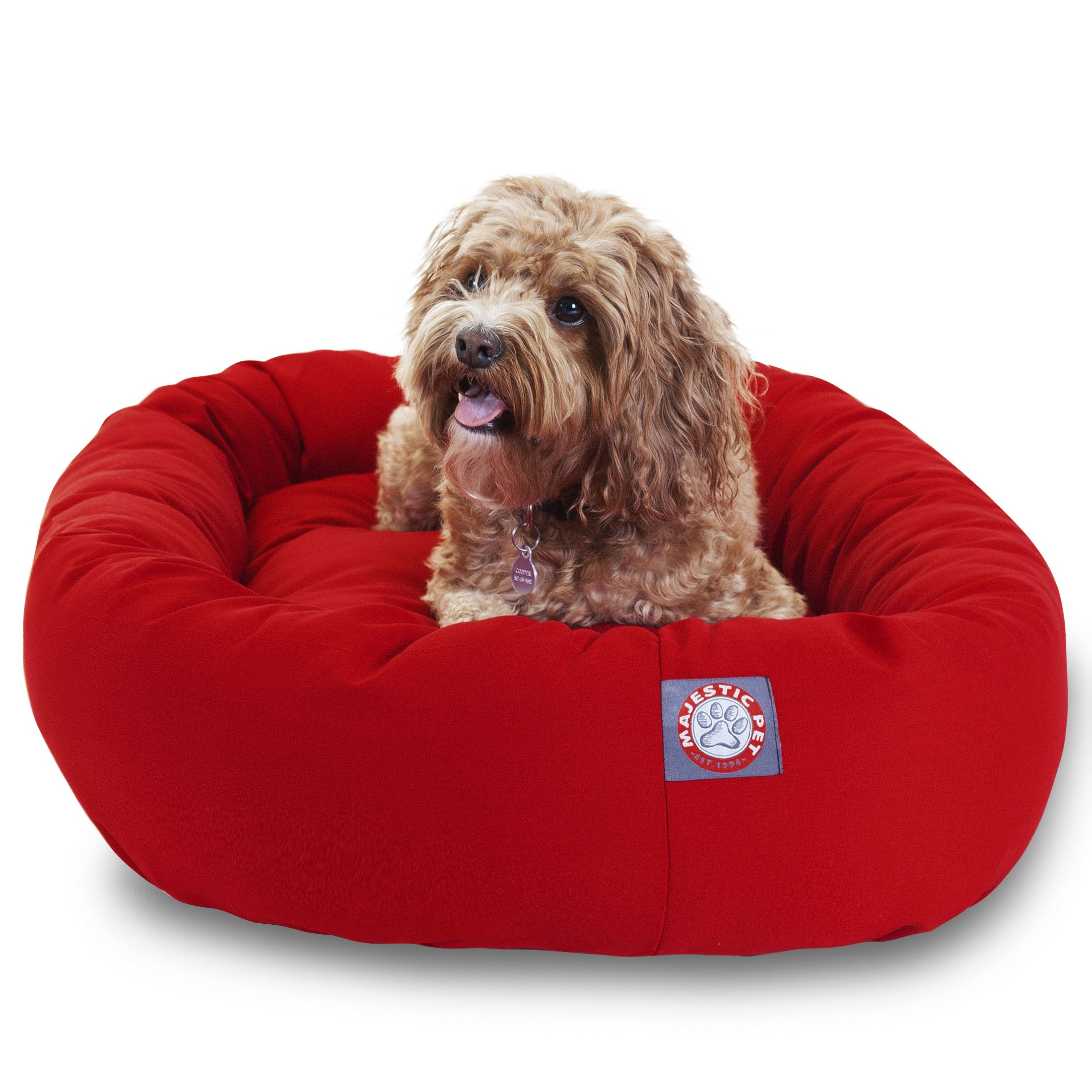 Majestic Pet 32 inch Red Bagel Dog Bed By Products