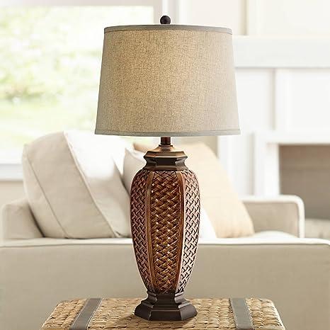 Amazon.com: Sintética de mimbre Jar lámpara de mesa: Home ...