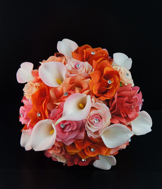 Amazon.com: Extra Large Bridal Bouquet - Peach, Coral, Orange, Pink ...