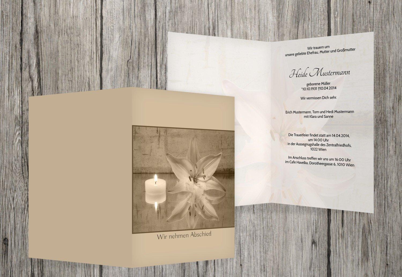 Tarjeta de luto Vela y flores, beige, 40 Karten