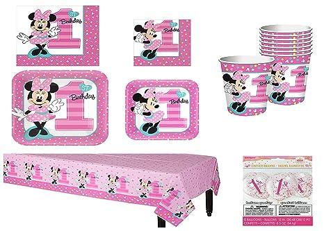 Amazon.com: Disney Minnie Mouse 1st cumpleaños 16 unidades ...