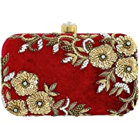 AIMIA Handicraft High quality imported Fabric materials with clasp closure Party Wear Beautiful Box Clutch Bag (Red)