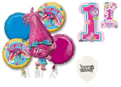 Amazon.com: Trolls Poppy 1st feliz cumpleaños juego de cinco ...