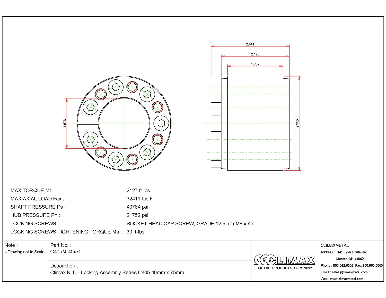 2.44 Width 1.57 ID Climax Metals C405M-40X75 Series 405 Locking Assembly 40 mm Shaft Diameter Steel