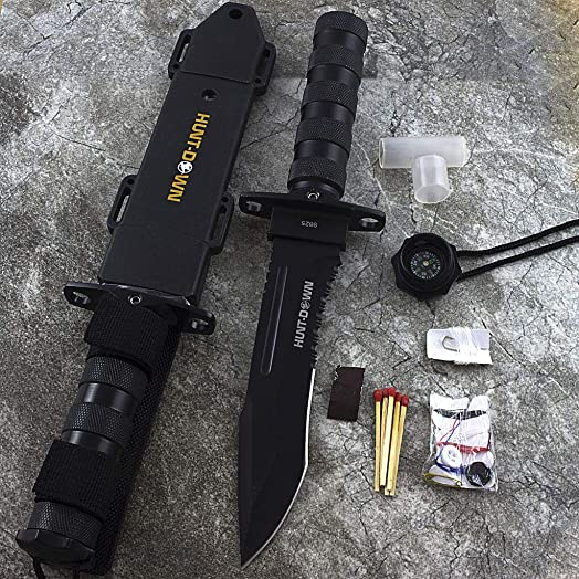 12 Tactical Hunting Rambo Combat Fixed Blade Knife Machete Bowie Survival Kit