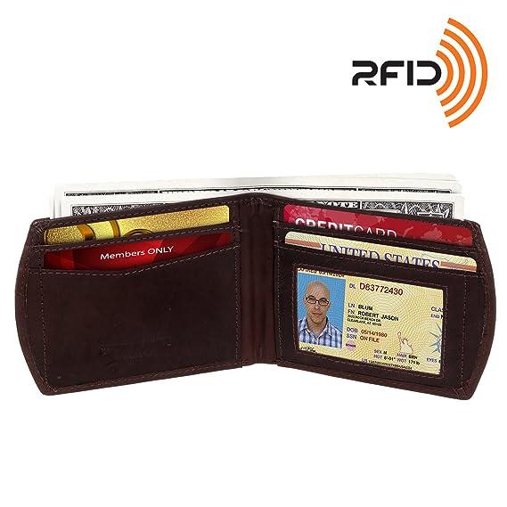 RFID bloqueo Wallet - Funda de piel - Cartera de bolsillo frontal Ross Michaels RFID Bifold Wallet: Amazon.es: Ropa y accesorios