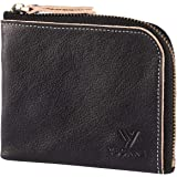 YBONNE Small Corner Zipper Wallet for Men and Women, Handmade with Italian Vegetable Tanned Leather