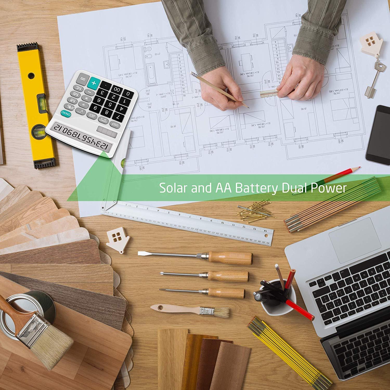 Calcolatrice Splaks pacchetto di 2/calcolatrice da tavolo funzionale standard sola e calcolatrice elettronica con grande display a 12/cifre 1/Nero e 1/argento