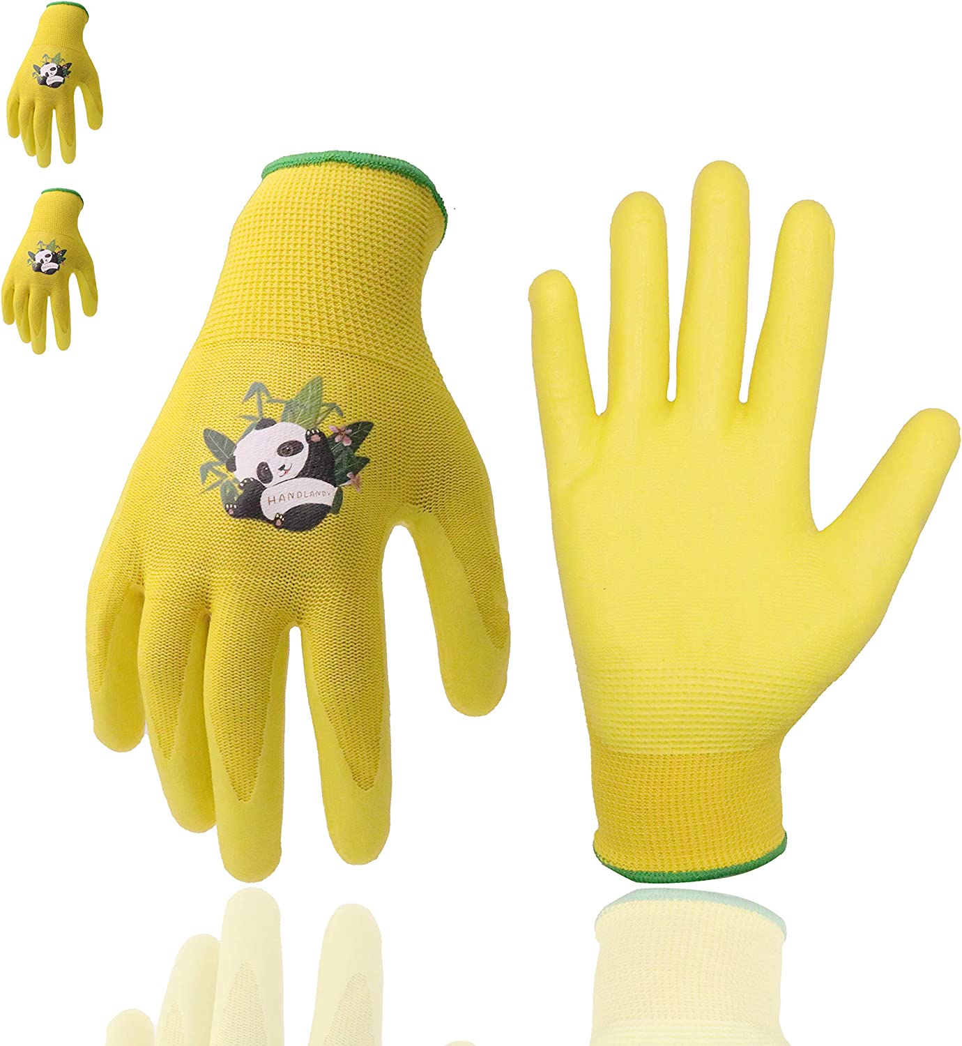 Kids Gardening Gloves, 3 Pairs Candy Colors Children Garden Gloves with Rubber Coated Palm for Age 2-13 Girls Boys (Size 2 (Age 2-4), Yellow 3 Pairs)
