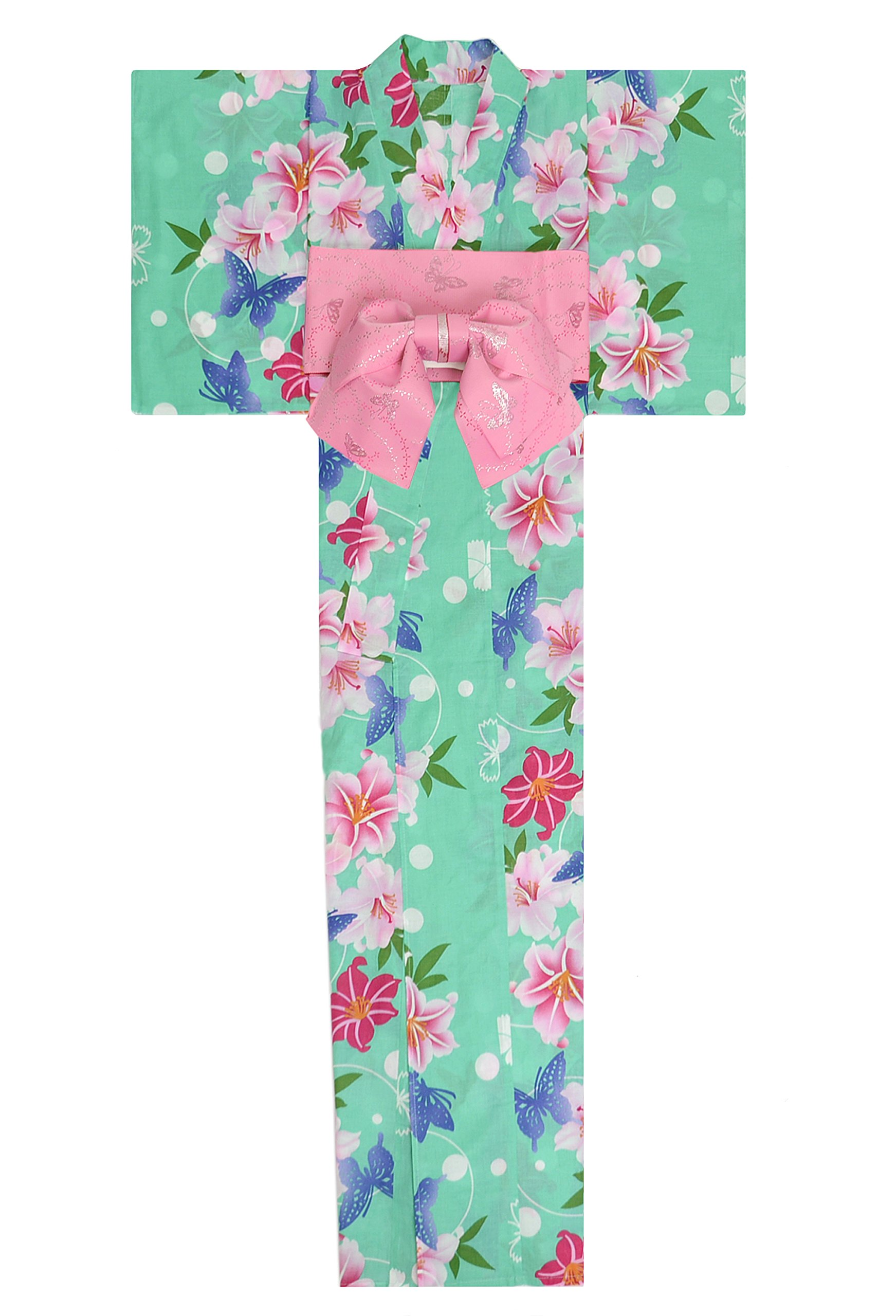 KimonoMode24 Women's Japanese Yukata And Easy Wearing Obi Set/ Flower and Butterfly Pattern Free Size Green