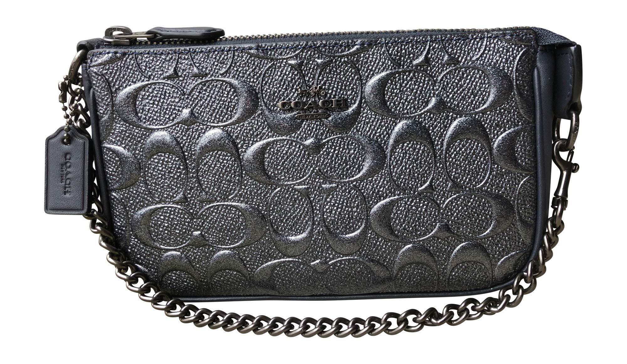 Coach Signature Debossed Patent Leather Large Wristlet Handbag (Charcoal)