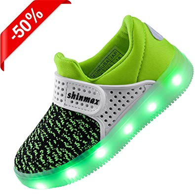 Shinmax Light Up Shoes, LED Shoes Led Sneakers Breathable 7 Colors Light Shoes for Men&