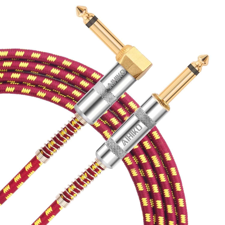 aihiko Cable de guitarra 10 ft/3 m Premium eléctrica instrumento rendimiento serie con 1/4 TS recto a derecho ángulo Conectores de oro conectores de 6,35 mm ...