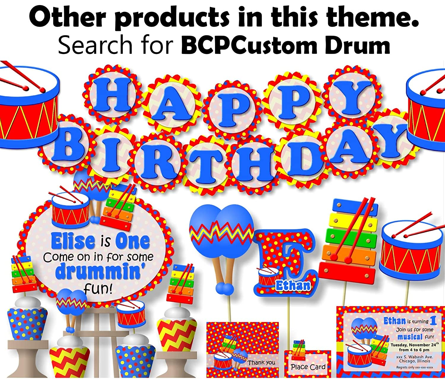 Toy Drum Music Birthday Party Banner for Boy Handmade in USA HAPPY BIRTHDAY Garland Party Decoration