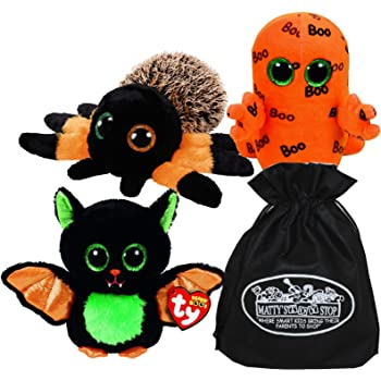 Ty Beanie Boos Halloween Beastie, Hairy & Ghoulie Gift Set Bundle with Bonus Mattys Toy Stop Storage Bag - 3 Pack