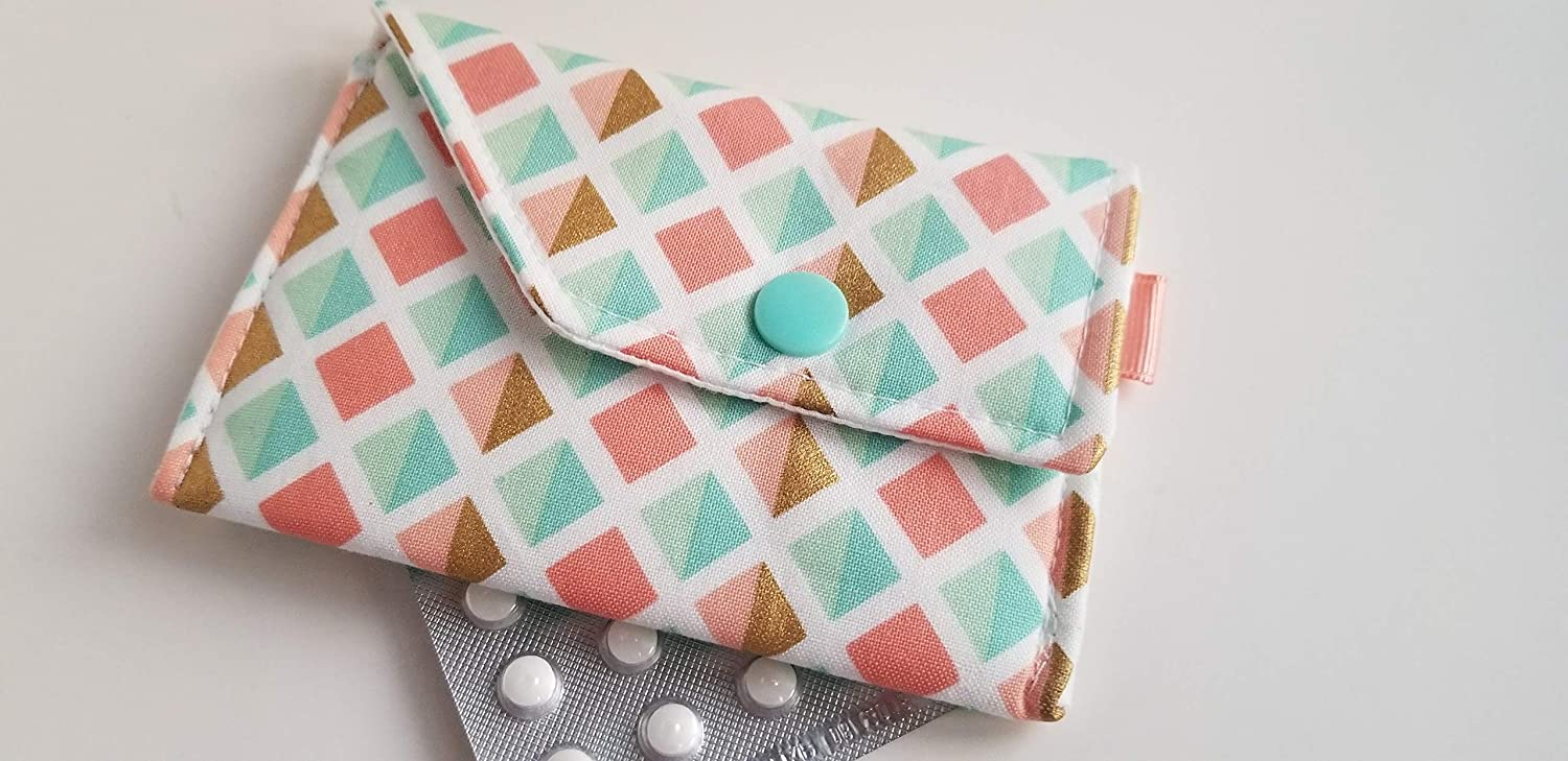 and Gold Squares Coral Pink Birth Control Case with Snap Closure