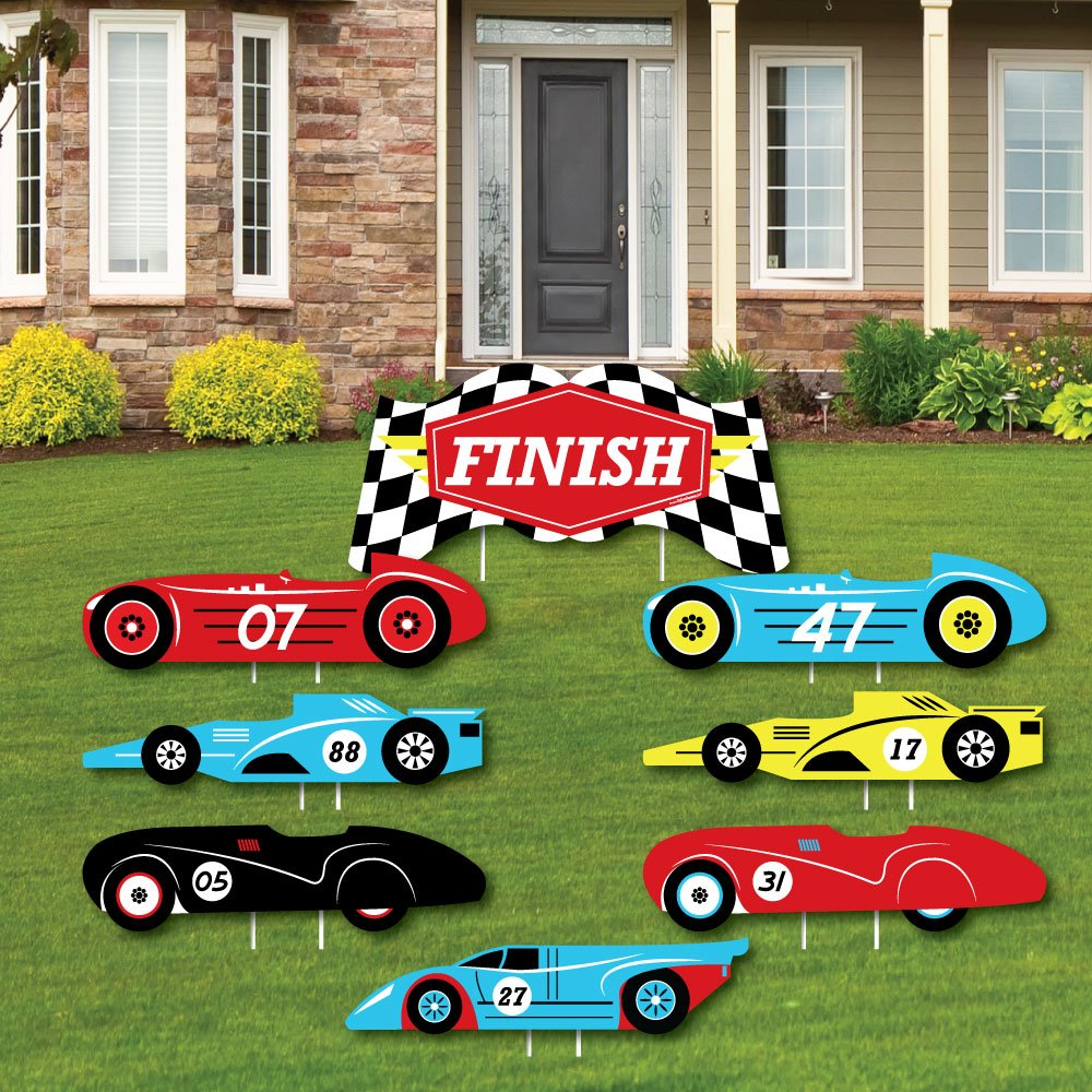 Big Dot of Happiness Let's Go Racing - Racecar - Yard Sign & Outdoor Lawn Decorations - Race Car Birthday Party or Baby Shower Yard Signs - Set of 8