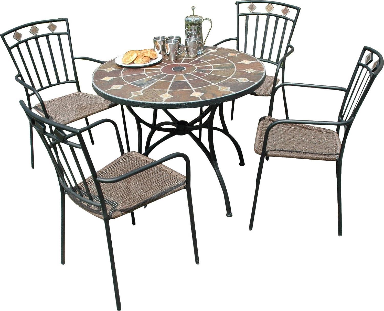 Amazon.com: Granada 5 Piece Round Dining Set: Jardín y ...