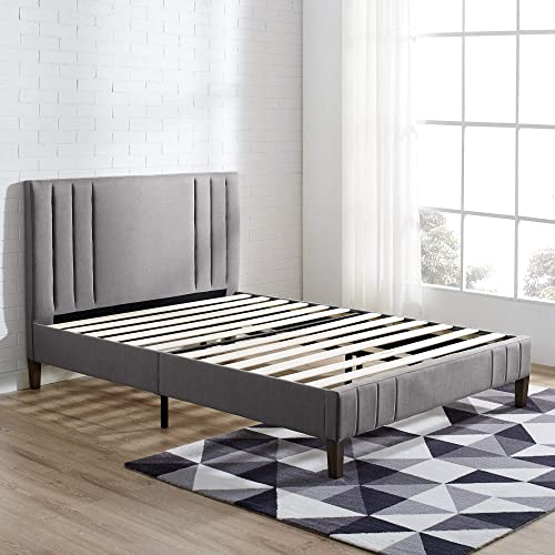 Classic Brands DeCoro Chicago Channel Tufted Upholstered Platform Bed Headboard and Wood Frame with Wood Slat Support, Queen, Peyton Slate