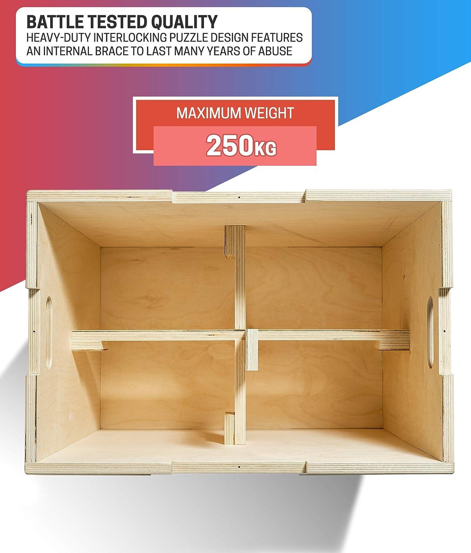 Cajón Pliometrico de Madera - Step Fitness de Fácil Montaje y Alta Durabilidad – Caja Crossfit Redondeada para un Esfuerzo Máximo Totalmente Seguro