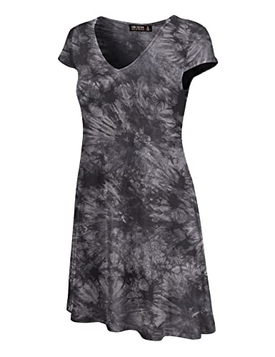 CTC Womens All Over Tie Dye V Neck Cap Sleeve T Shirt Dress - Made in USA