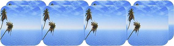 3drose Cst 173298 2 Zwei Tropische Palmen Mit Blauem Ozean Hintergrund Weiche Untersetzer 8 Stück Küche Haushalt