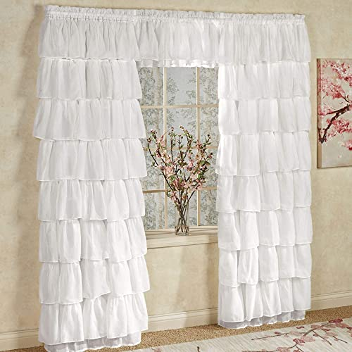 LORRAINE HOME FASHIONS Cream 96 Long Gypsy Shabby Chic Semi Sheer Ruffled Window Curtain Panel